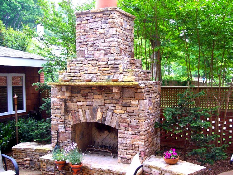 Outside Stone Fireplace Ideas: Stone Masonry & Hardscape Since